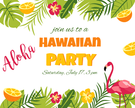 Tropical Floral Poster with flamingo for Invitation Wedding, Party