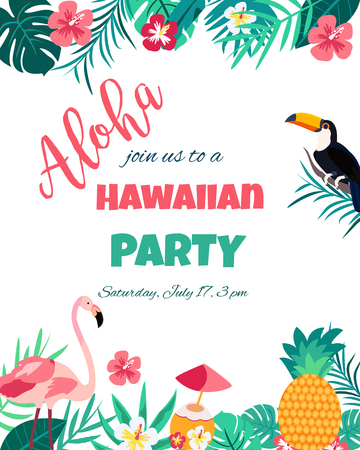 Tropical Floral Poster with flamingo and toucan for Invitation Wedding, Party