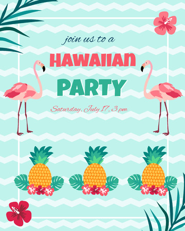 Hawaiian bright invitation with flamingos, pineapple, foliage text