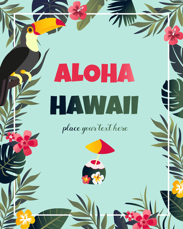 Tropical Hawaiian Poster with toucan. Party template Vectores