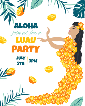 Tropical Hawaiian Poster with a girl. Party template Invitation banner, card Illustration