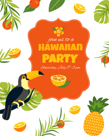 Tropical Hawaiian Poster with toucan. Party template Invitation, banner card. Illustration