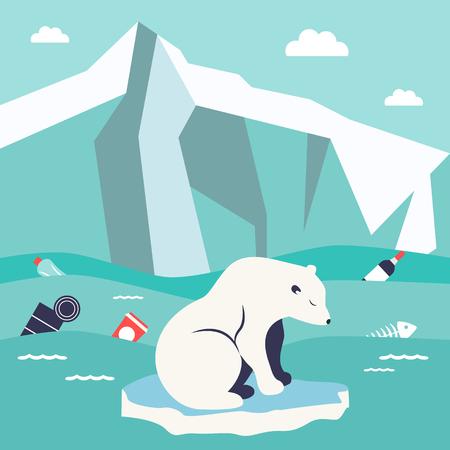 Save oceans concept. Illustration with cute polar bear Vectores