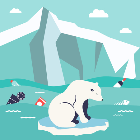 Save oceans concept. Illustration with cute polar bear Illustration