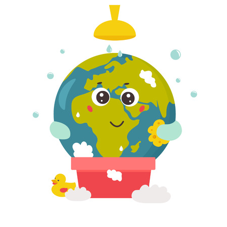 Bright poster with Cartoon Planet taking shower