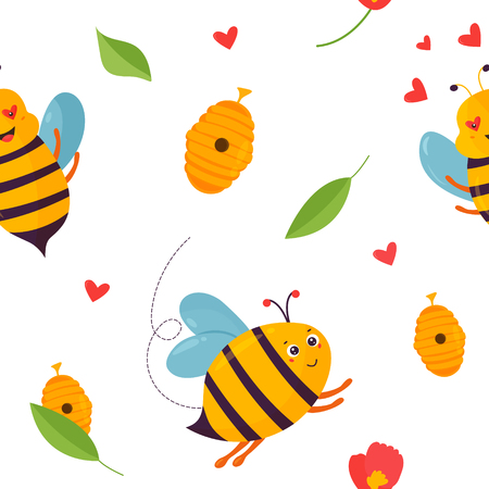 Bright pattern with bees, beehive and elements Illustration