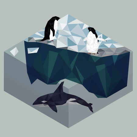Low poly penguins and orca, seascape poster illustration.  イラスト・ベクター素材