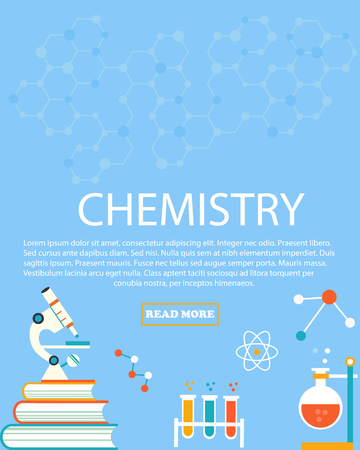 Chemistry study on Education and science layout concepts. Flat modern style. Illustration