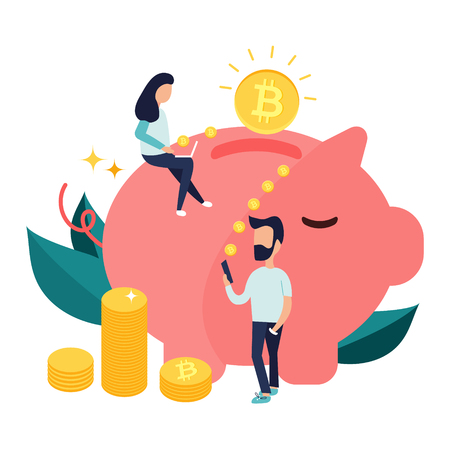 Concept design of cryptocurrency technology, bitcoin exchange, bitcoin mining, mobile banking. Man and girl relocating bitcoins into money box