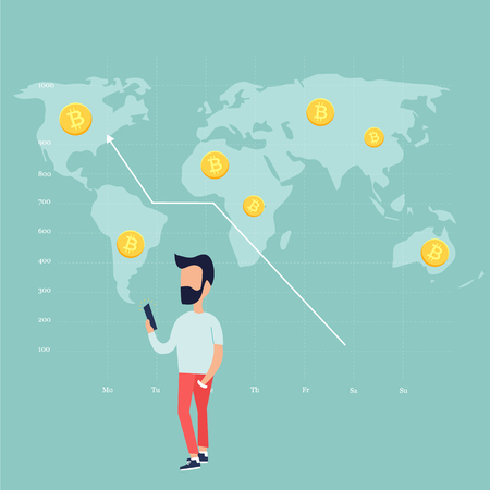 Concept design of a trading man and growing chart with golden bitcoins on background with world map