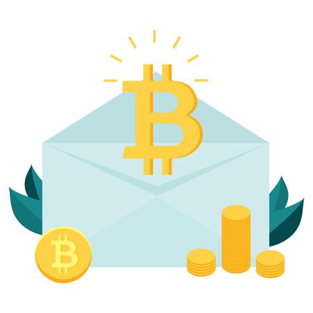 Bitcoin inside the envelope. Piles of golden bitcoins. Fintech industry, finance digitization concept design Illustration