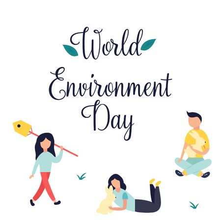 Poster World Environment Day with text and people.