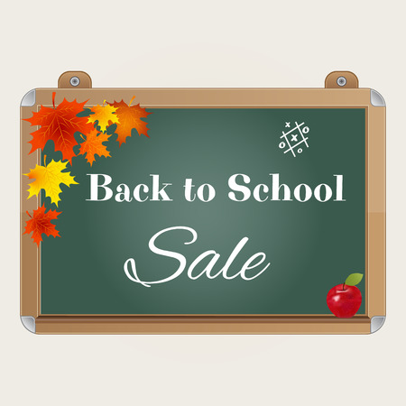 Back to school sale background with realistic blackboard, autumn leaves, apple and text