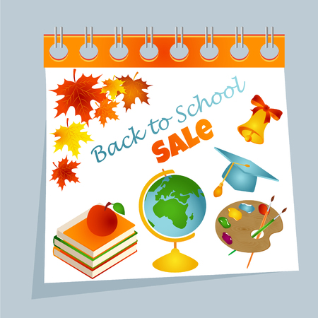 Back to school calendar sale background with autumn leaves, palette, books, apple, bell, graduate cap and text