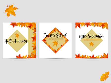 Set of autumn backgrounds with yellow leaves