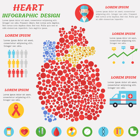 Heart Infographic Poster With Heart Symbols Text And Graphic Stock