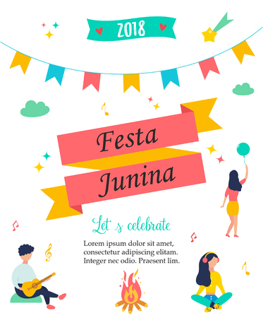 Bright poster for Festa Junina