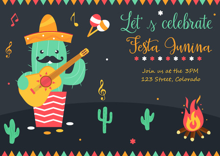 Bright poster for Festa Junina with happy cactus Illustration