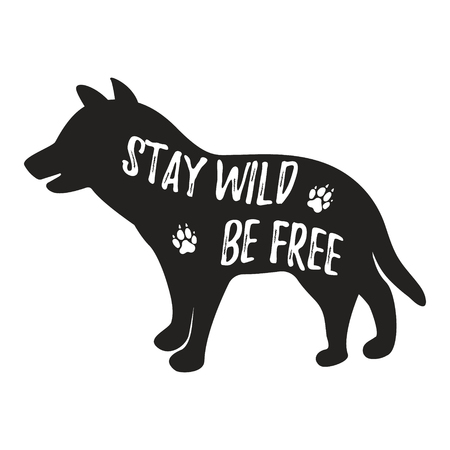 Wolf logo template with text Stay wild, be free. Wild animal typography badge design Ilustração