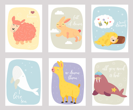 Big vector set of funny postcards with animals
