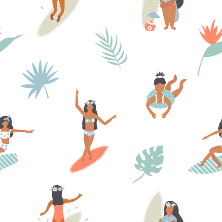Summertime seamless pattern with pretty girls
