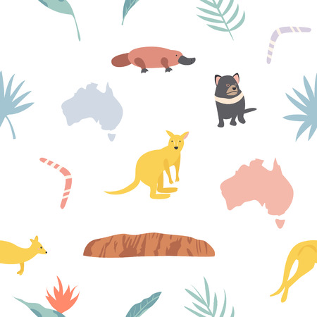 Seamless pattern with cuddly koalas and leaves