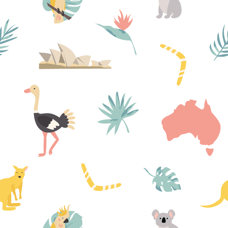 Seamless pattern australian landmarks and animals.