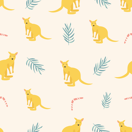 Seamless pattern with kangaroos and tropical leaves