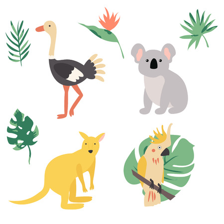 Fauna of Australia. Vector illustration of animal set including cockatoo, kangaroo and koala.