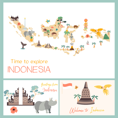 Indonesian map with animals and landmarks Illusztráció