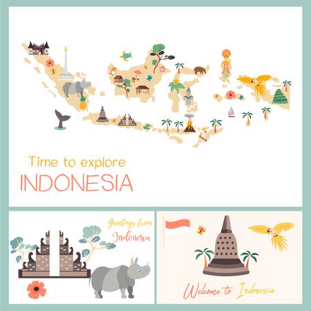 Indonesische Karte mit Tieren und Sehenswürdigkeiten