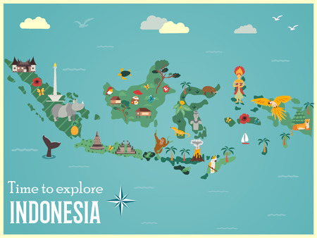 Indonesian map with animals and landmarks Stock Illustratie