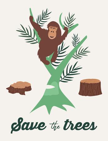 Eco poster with orangutan. Deforestation offorest.