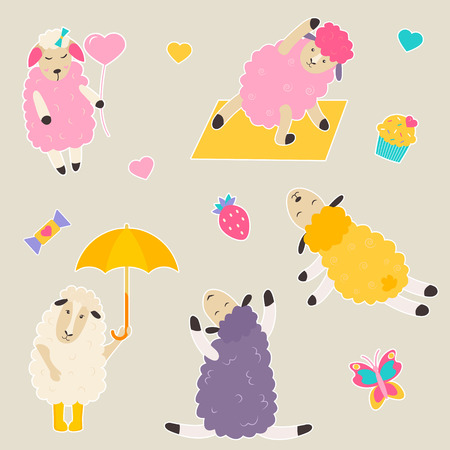 Set of bright stickers with cute sheep