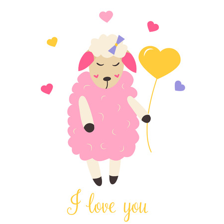 Cute sheep in love with heart balloon