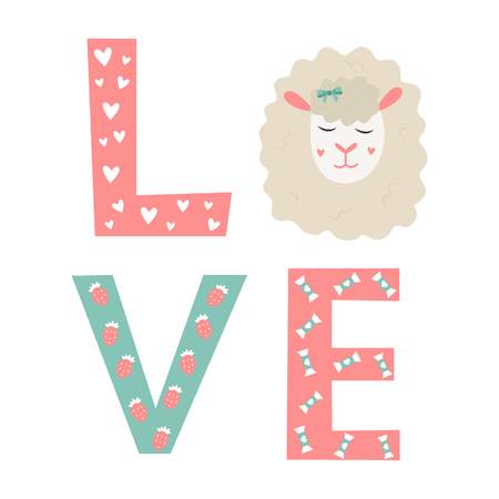 Letters LOVE with elements and cute sheep Ilustração
