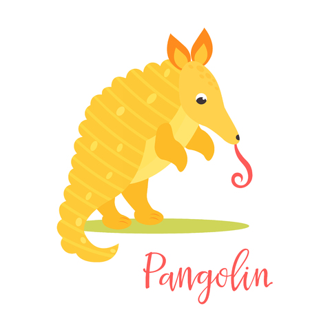 Bright poster with cute yellow pangolin