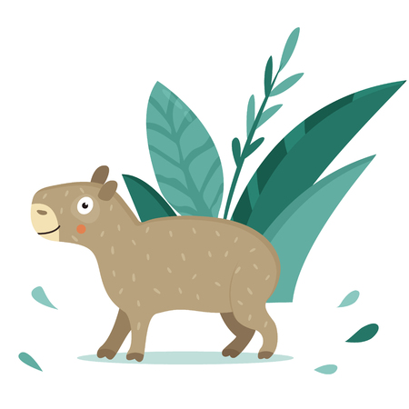 Bright poster with cute capybara in the jungle