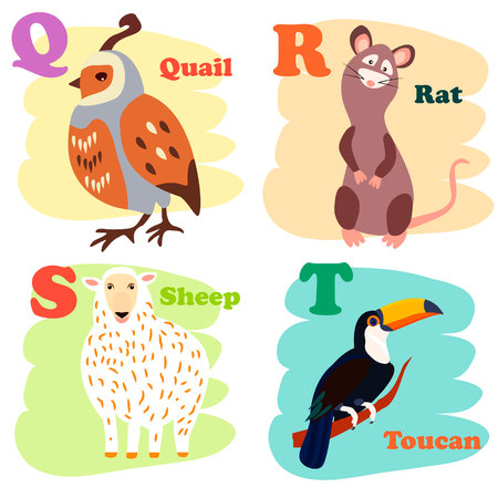Cartoon Vector Illustration of Colorful English Alphabet with Funny Animals