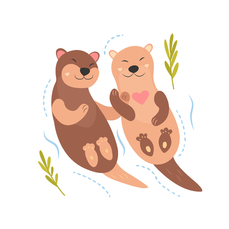 Bright card with cute otters in love.