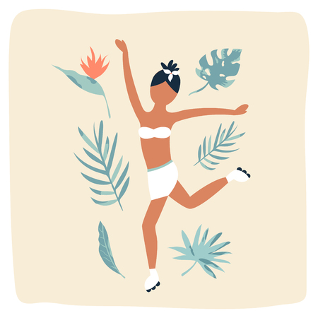 Summer poster with dancing pretty girl and tropical leaves Ilustracje wektorowe