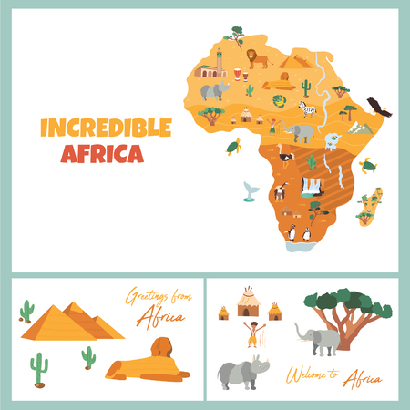 Bright map with famous african destinations and animals Ilustrace