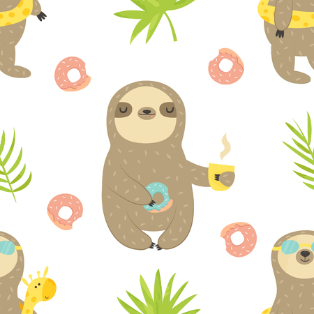 Tropical seamless pattern with sloth and cactus