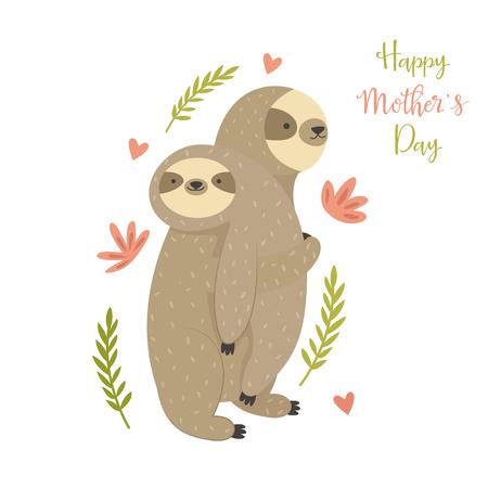 Matka lenistwo niosące dziecko. Kartkę z życzeniami na dzień matki z uroczymi zwierzętami