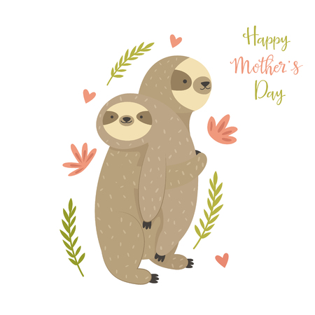 Mother sloth bearing her child. Greeting card for mothers day with cute animals