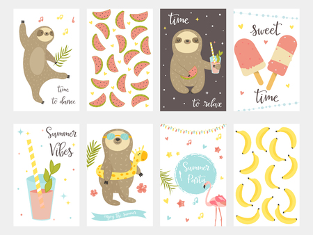 Sloth collection. Set of tropical summer cards for party, birthday invitations, greetings Illustration