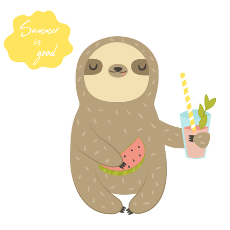 Funny Sloth with cocktail and watermelon. Cute animal design for print. Summer card