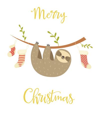 Faultier hängt am Baum. Weihnachtsgrußkarte. Feiertagsbanner Vektorgrafik
