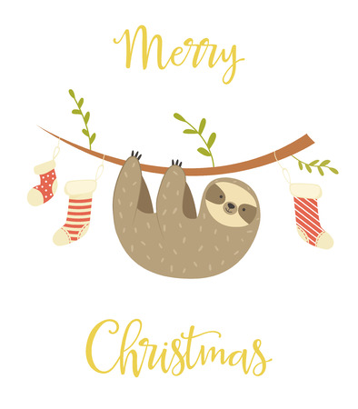 Sloth hanging on the tree. Christmas greeting card. Holiday banner