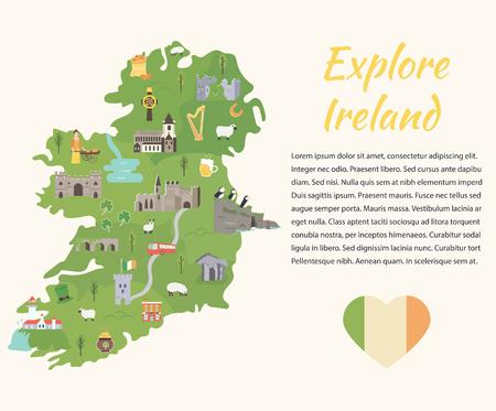 Mapa irlandés con símbolos de Irlanda, destinos y monumentos Ilustración de vector